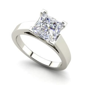 Cathedral 1 Carat VS1 Clarity H Color Princess Cut Diamond Engagement Ring White Gold