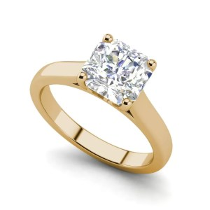 Solitaire 2.25 Carat VS1 Clarity H Color Cushion Cut Diamond Engagement Ring Yellow Gold