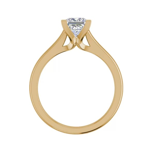Solitaire 2.5 Carat VVS1 Clarity D Color Princess Cut Diamond Engagement Ring Yellow Gold 2