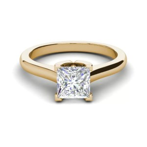 Solitaire 2.5 Carat VVS1 Clarity D Color Princess Cut Diamond Engagement Ring Yellow Gold 3