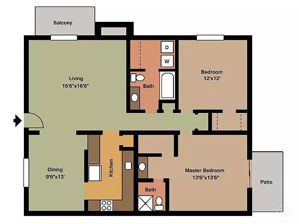 Aragon Apartments, 2 Bedroom Floorplan