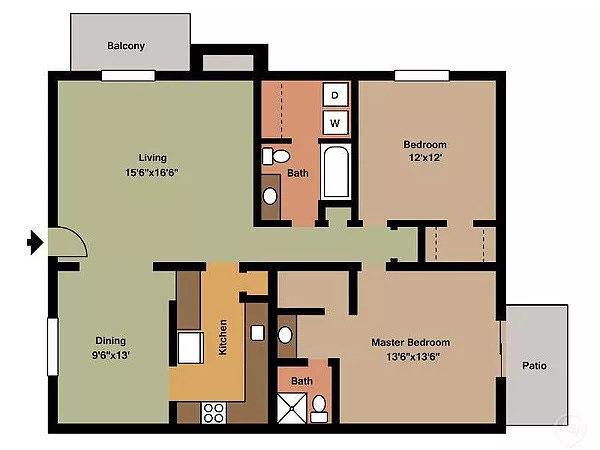 Aragon Apartments, 2 Bedroom Floorplan