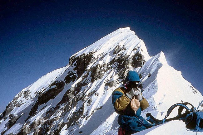Arista final y cumbre del Everest desde la cumbre Sur.