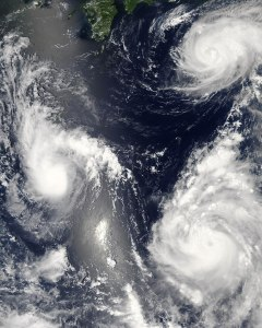 picture of 3 typhoons above the pacific ocean