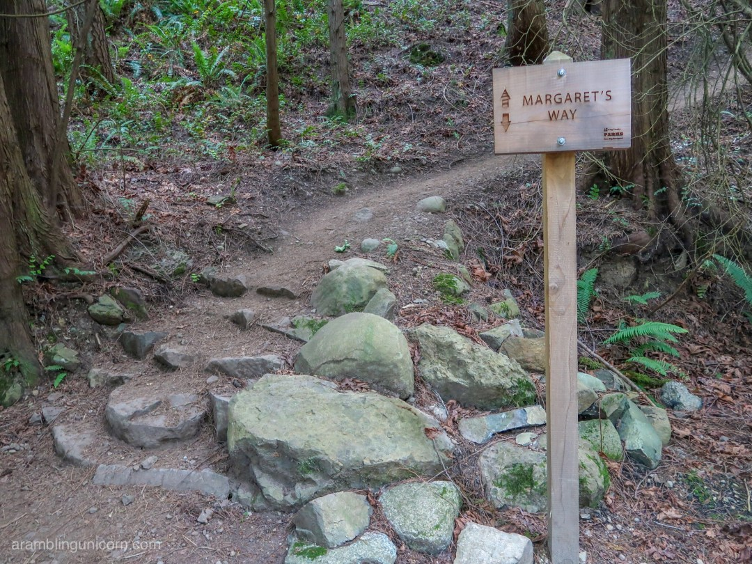 One of the 18 trail signs along Margaret's Way