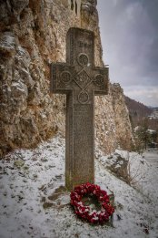Cross at the base of Bran Castle.