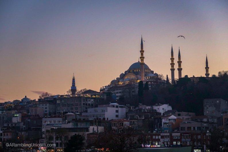 The Süleymaniye Mosque at dusk
