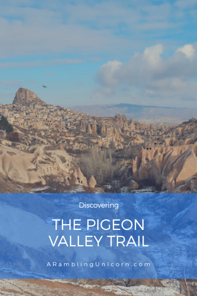 The Pigeon Valley Trail (Güvercinlik Vadısı) connects the communities of Göreme and Uçhisar in Cappadocia. At approximately 4 km in length and with fabulous views of fairy chimneys and whimsical rock formations (not to mention pigeons), the trail is very popular. But when we hiked it, we encountered an unexpected adventure
