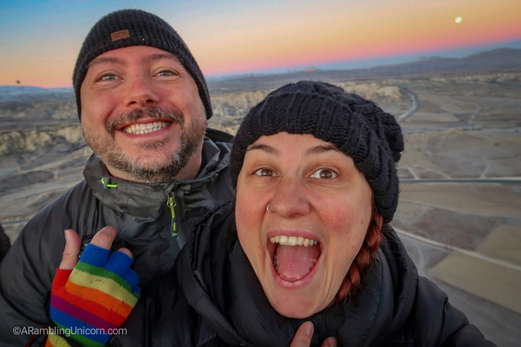 We're in a hot air balloon! Daniel and I set off on a Cappadocia balloon ride.