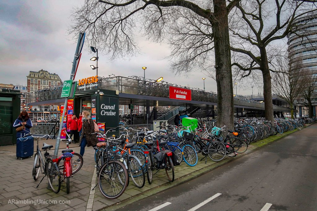 Amsterdam blog: This multi-story canal barge served as a giant bicycle parking lot.