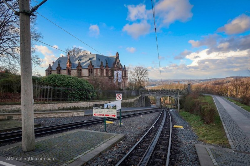 The Drachenfelsbahn (Drachenfels Railway) train stop at Drachenburg Castle