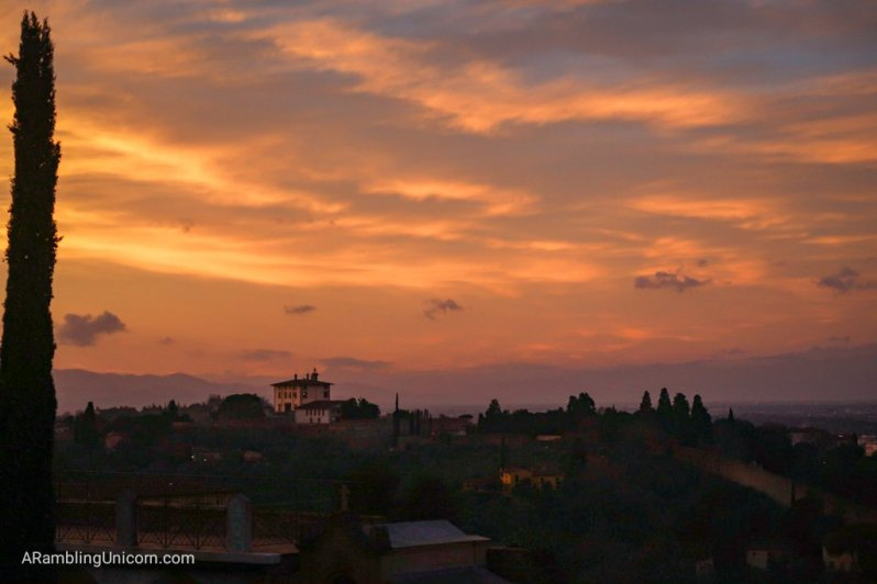 Florence 4 day itinerary: Sunset from Basilica San Miniato al Monte