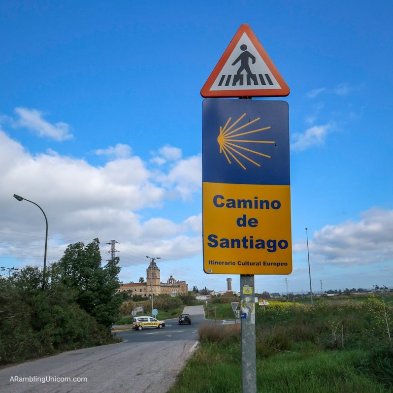 Trail sign for the Camino de Santiago