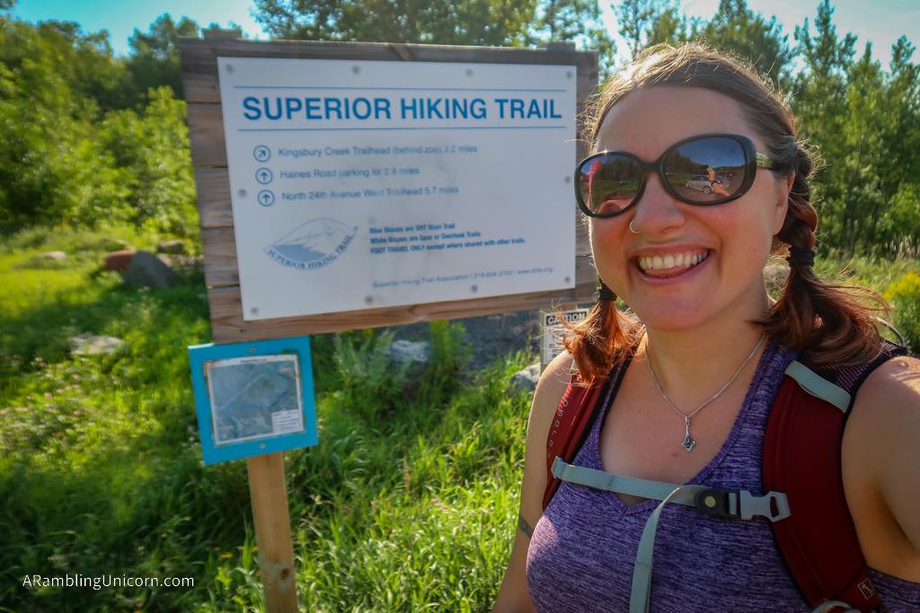 I am hiking on the Superior Hiking Trail in Duluth, Minnesota!