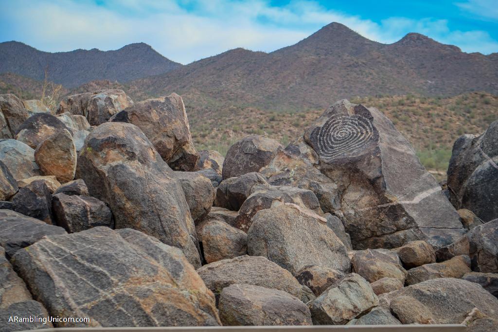 Spiral design petroglyph on Signal Hill in Saguaro National Park