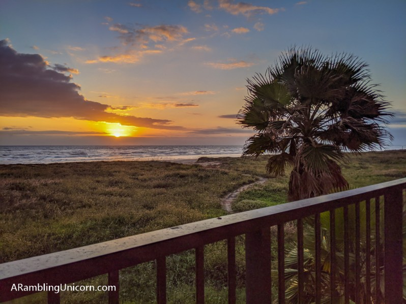 A gorgeous view of sunrise from our condo patio. The epitome of a South Padre Island vacation.