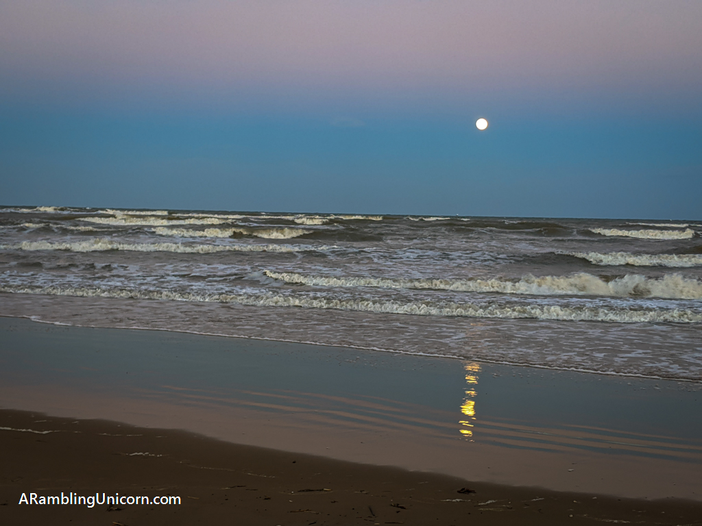 Moonrise on the beach at South Padre Island
