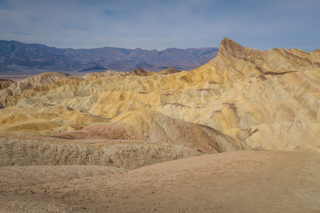The multi-colored badlands at Zabriskie point