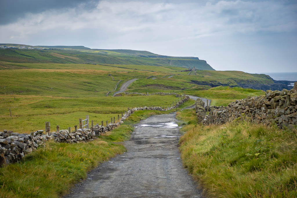 A wide path flanked by stone fences leads through green rolling hills to the Cliffs of Moher in the distance