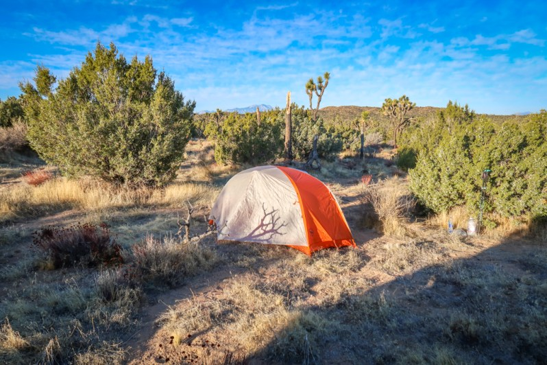 Backpacking tent set up in Joshua Tree wilderness