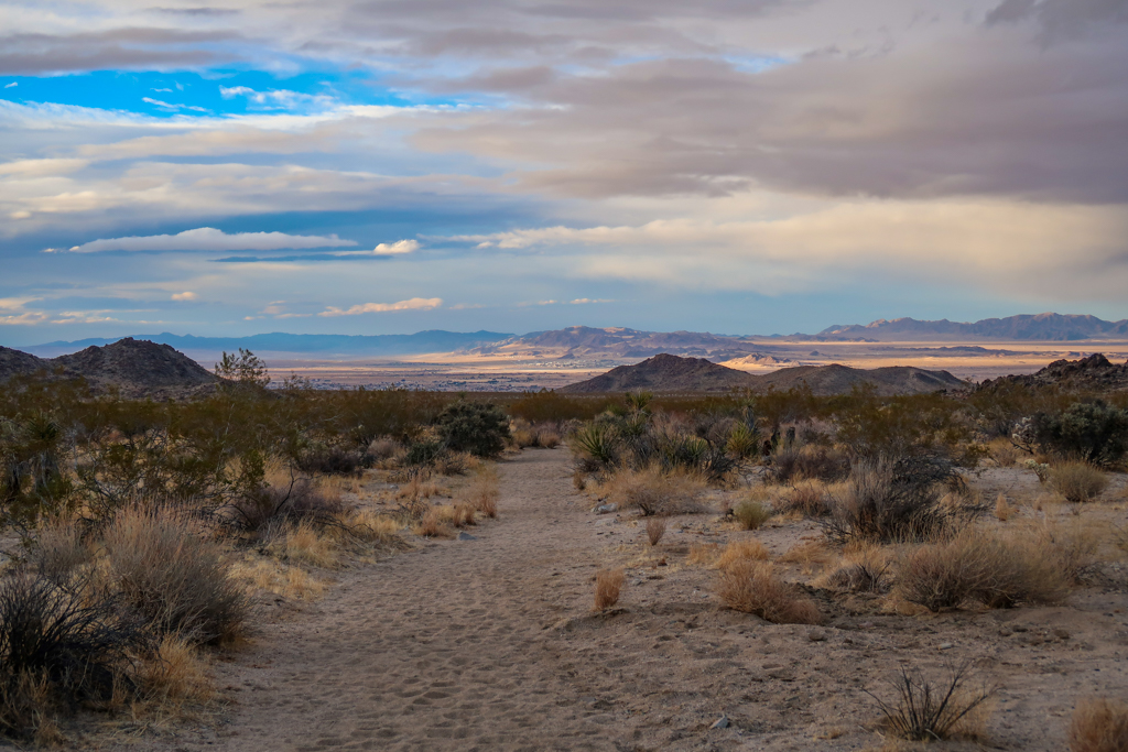 View of the city of Twentynine Palms in the distance which is in a valley.