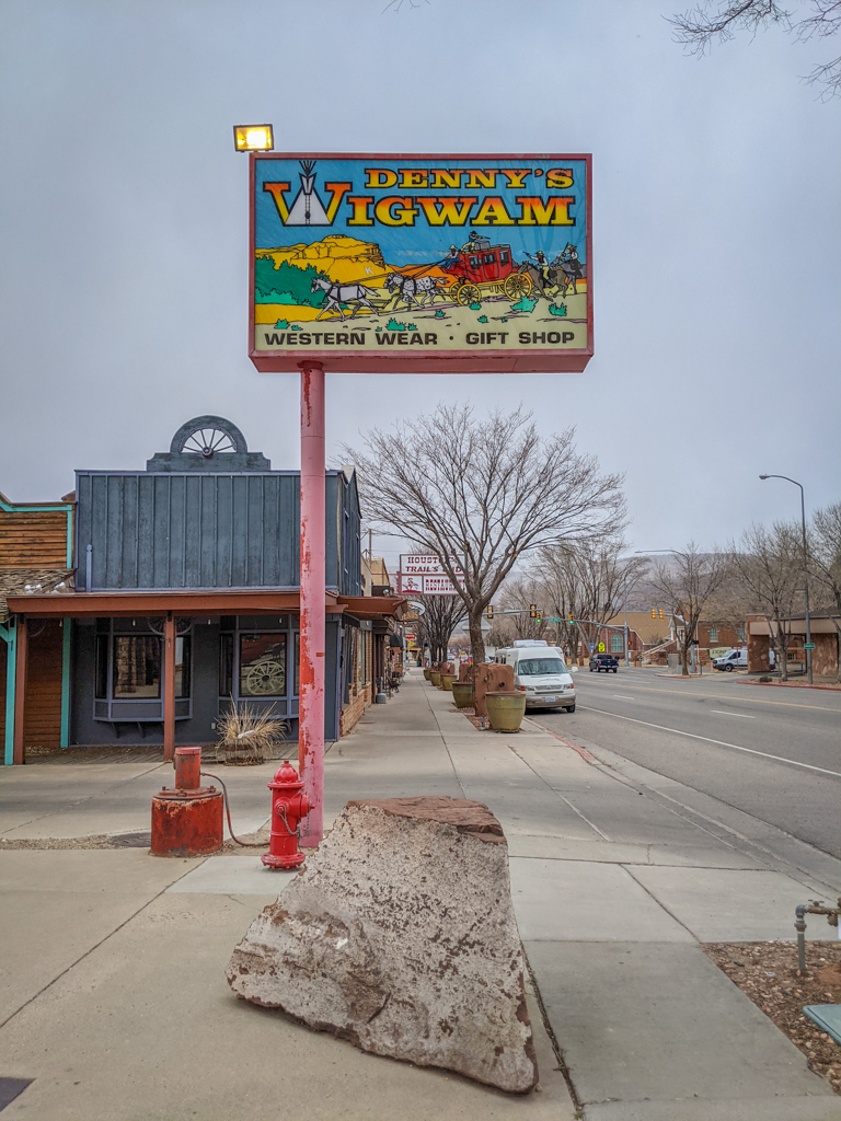 Main street of downtown Kanab Utah, featuring a sign for