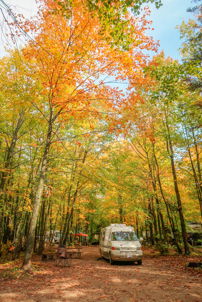 Winnebago Rialta parked under trees with autumn colors of reds, oranges and yellows in Michigan's Upper Peninsula