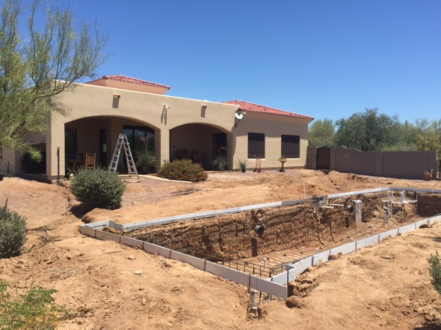 Pool construction progressing. Phase 1 and 2 complete.
