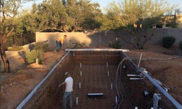 Sunrise and the pool is getting ready for the concrete