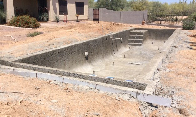Pool walls in place