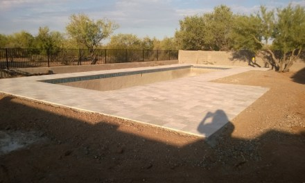 Pool coping and decking complete.