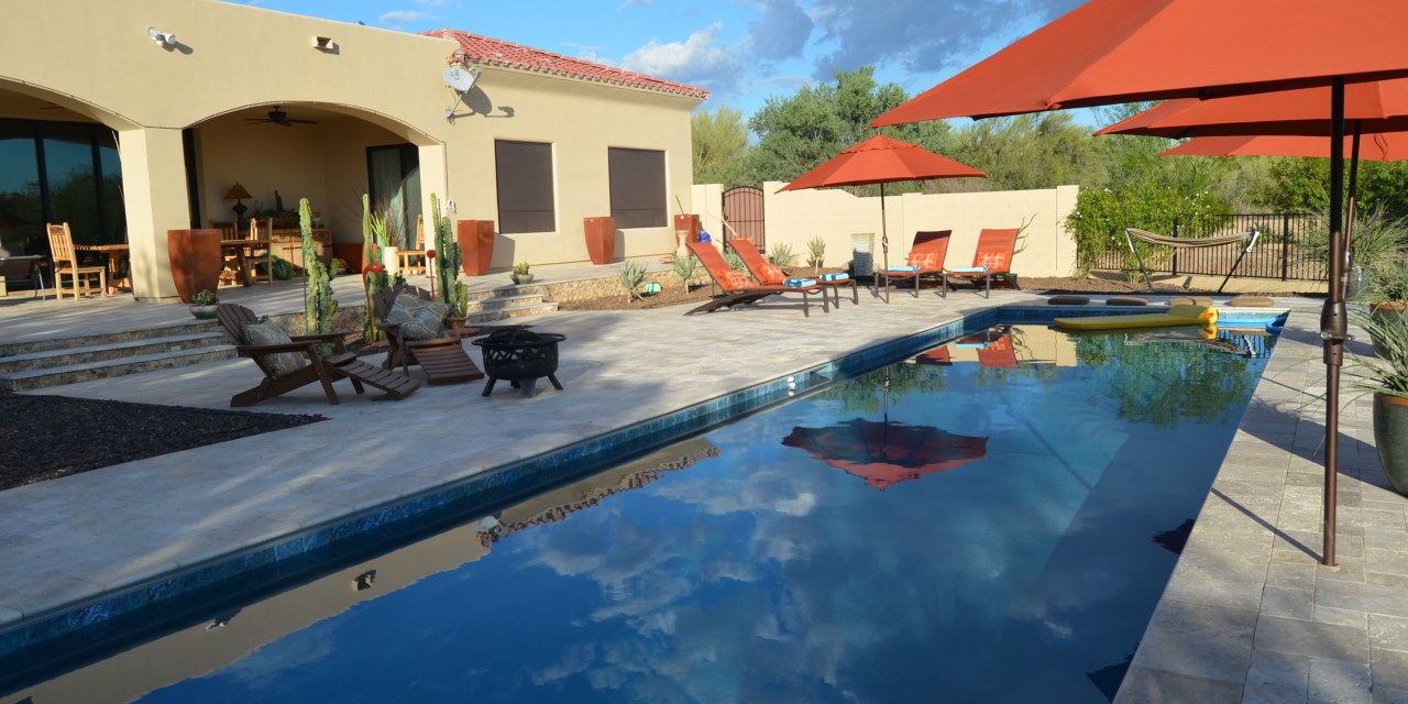 Scottsdale clouds floating in a Cave Creek pool