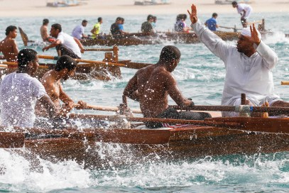 Competitors during the UAE Traditional Rowing at Dubai Marine International Club in Dubai.
