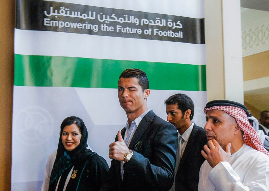 Cristiano Ronaldo, Portuguese National Team and Real Madrid star, Matar Al Tayer, Vice President of Dubai Sports Council, at Dubai International Sports Conference, at Madinat Jumeirah, Dubai.