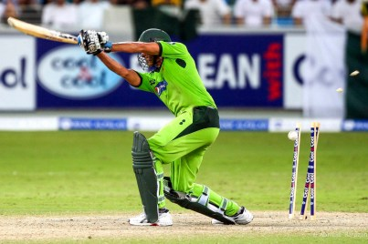 Pakistan batsman Waqar Younis, bowled by South African bowler Morne Morkel, in the fourth one day international at Dubai Sports City Cricket Stadium.