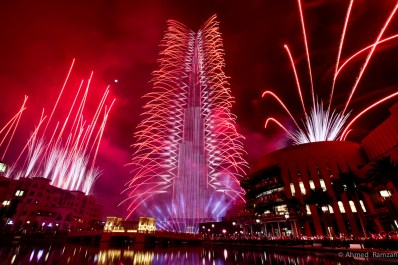 Fireworks along with LED show at Burj Khalifah during the New Years eve celebration in Dubai.