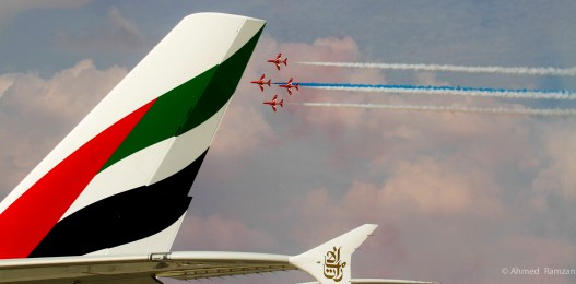 Aerobatics by Red Arrows, at the Dubai Airshow 2013 at Dubai World Central in Dubai.