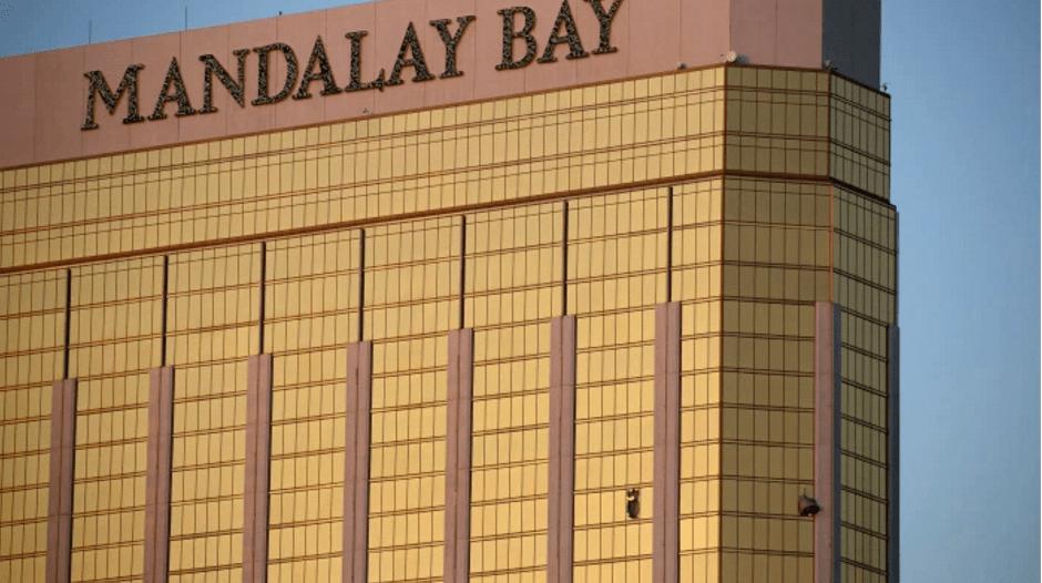 Smashed hotel windows at the Mandalay Bay Hotel. Image via Creative Commons