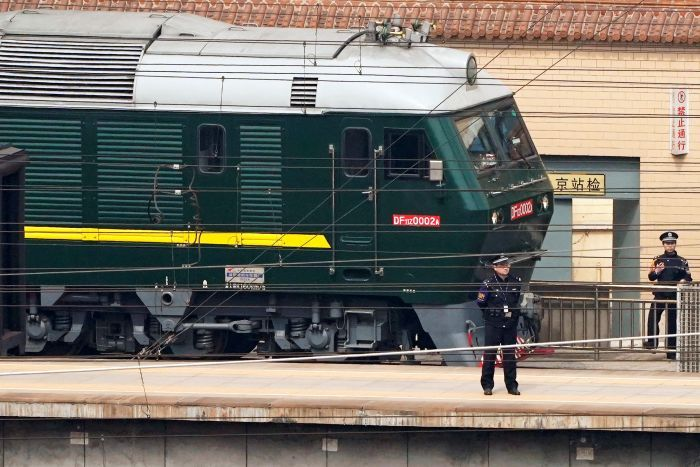 The armored train that North Korean leaders have used to travel to China image via Jason Lee ABC