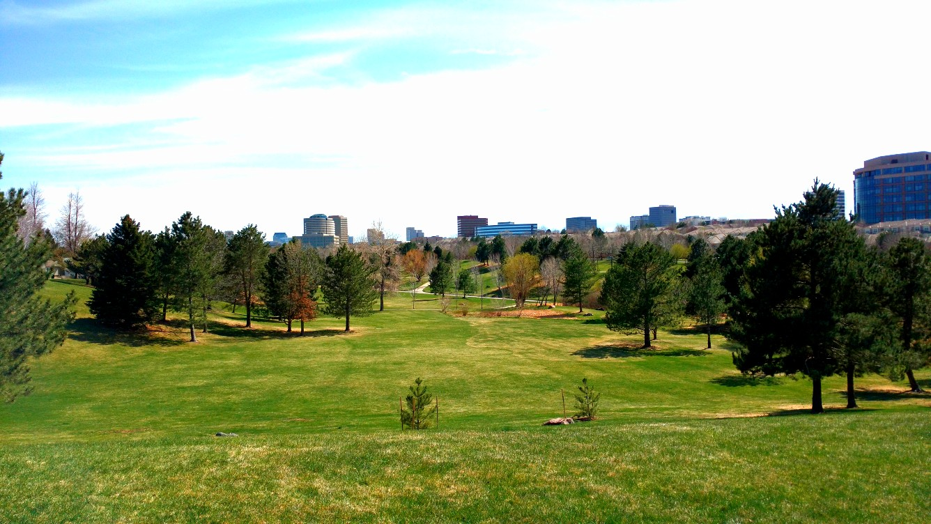 Skyline of the Denver Technology Center from atop a hill at George Wallace Park April 15, 2018.