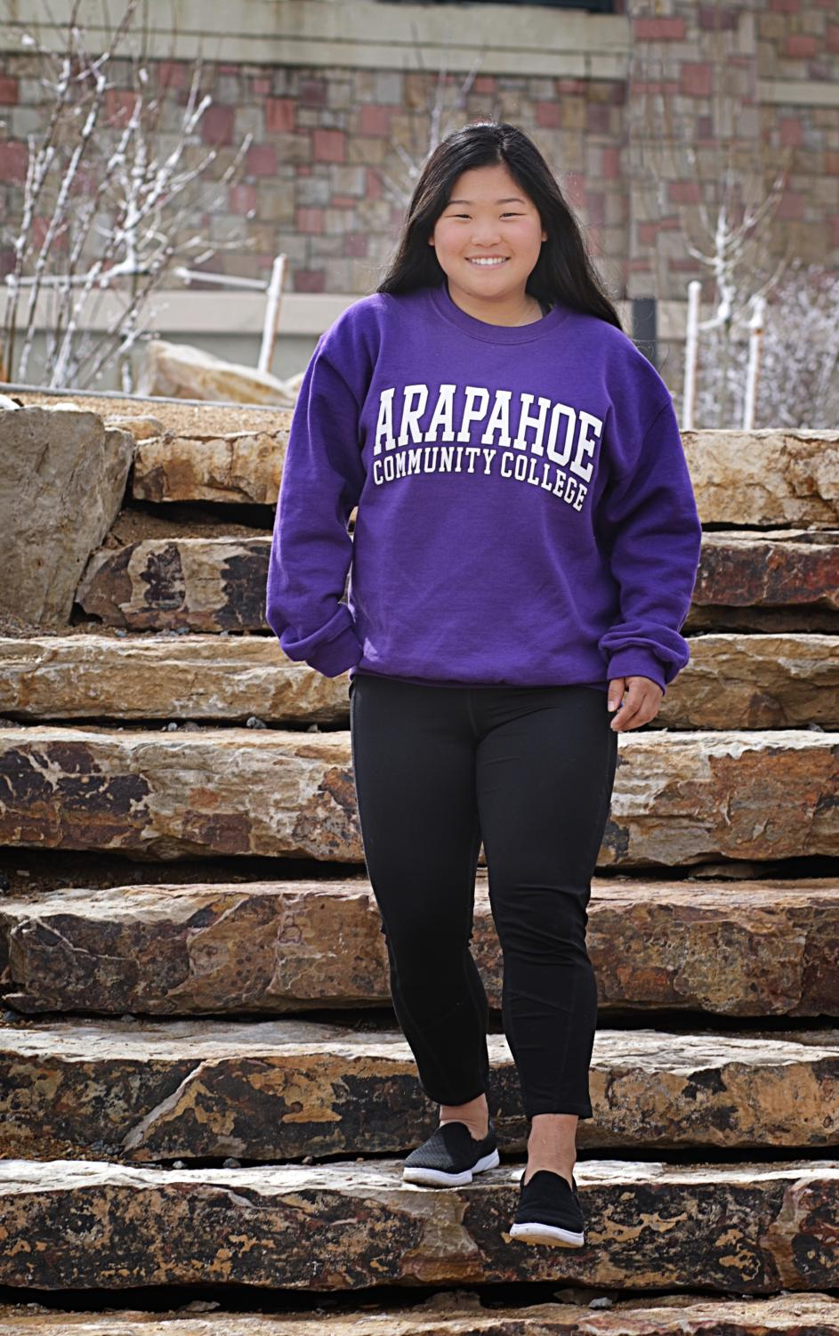 Madison Stone wearing an Arapahoe Community College sweater on April 13, 2018.