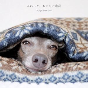 「犬寝袋&カフェマット」の撮影中もぬくぬく、ねんねzzz ふわっと、もこもこ寝袋「保温効果抜群ニットボンディング」 ジャガードニット裏ボア生地