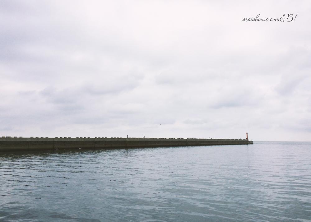 am8:00海辺を歩くと、