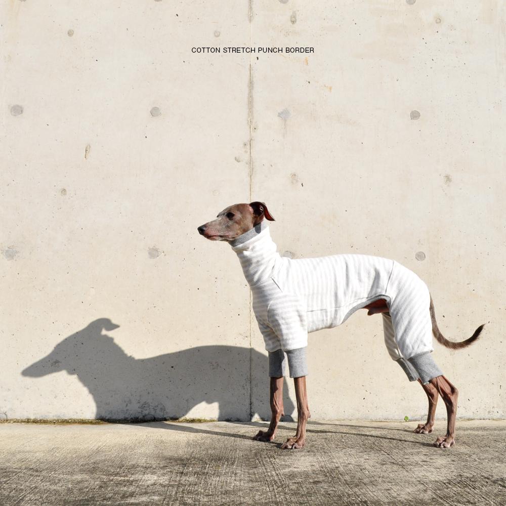 犬服 コットンストレッチポンチボーダー 選べる4タイプ(グレー)