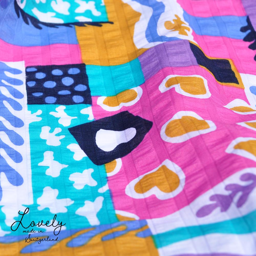 犬服 Lovely スイス製サッカープリント(しじら織り) 選べる3タイプ×3カラー(ベージュ/ネイビー/グレイ)