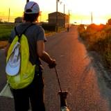 暑いけど淡路島を6km走ったらゴールはとっても綺麗な夕焼けだった。