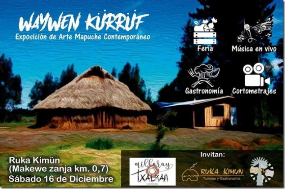 Flyer exposición de arte Waywen Kurrüf