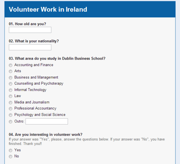 Survey   Volunteer Work