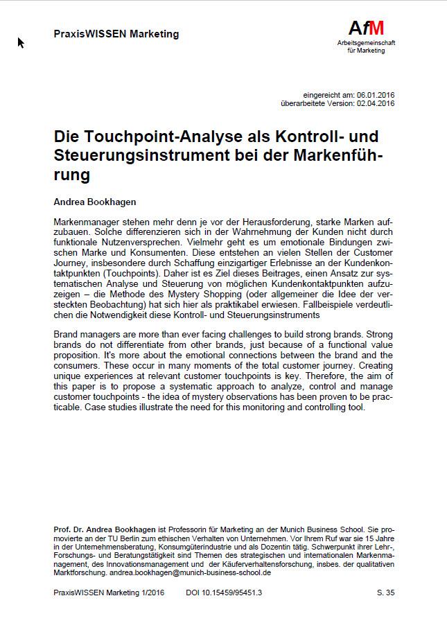 Die Touchpoint-Analyse als Kontroll- und Steuerungsinstrument bei der Markenführung