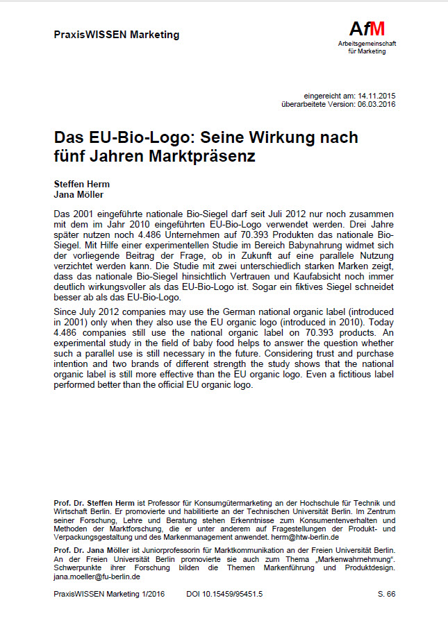 Das EU-Bio-Logo: Seine Wirkung nach fünf Jahren Marktpräsenz